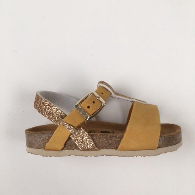 PLAKTON SANDALS leren kurk sandaal kind SENDRA - nubuck mosterd geel/ glitters goud - 24 tm 35