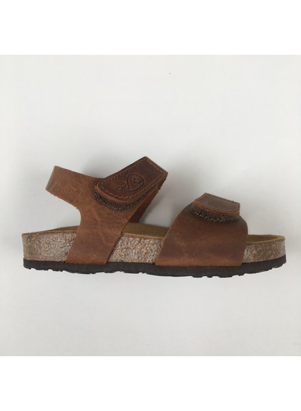 PLAKTON leather cork sandal child PARTER - roughened leather mat - nature brown - 24 to 35