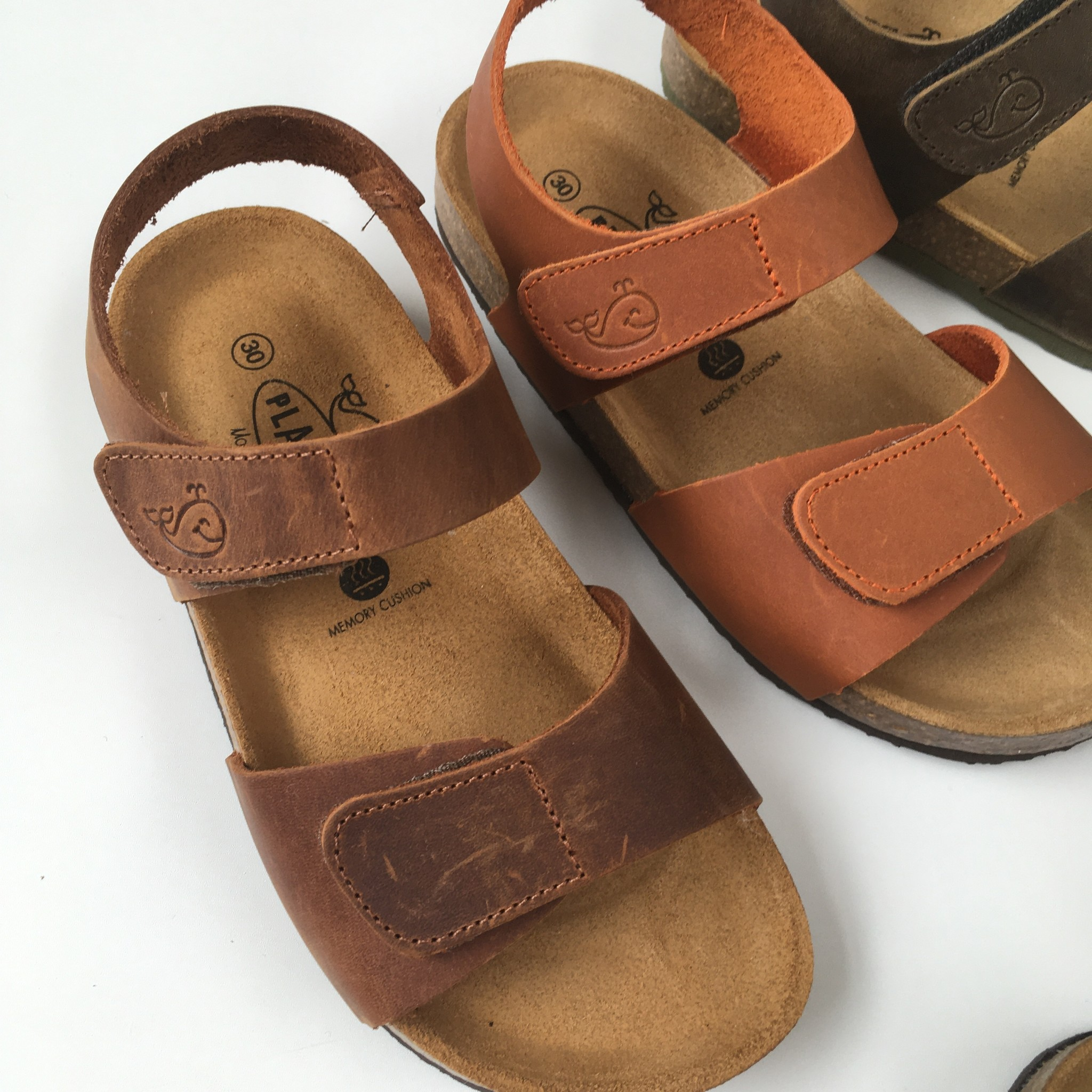 PLAKTON SANDALS leren kurk sandaal kind PARTER - opgeruwd leer mat - natuur bruin - 24 tm 35