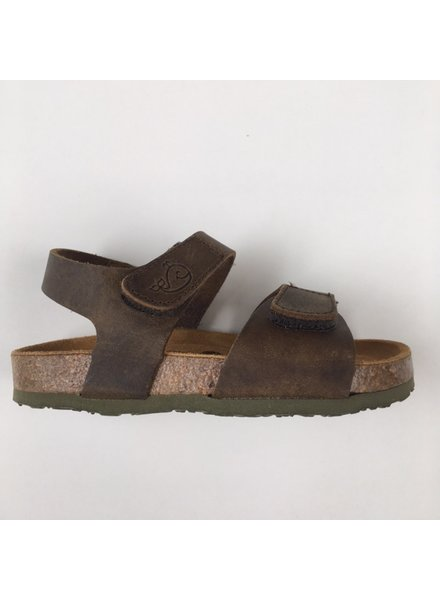 PLAKTON SANDALS leather cork sandal child PARTER - roughened leather mat - nature green - 24 to 35