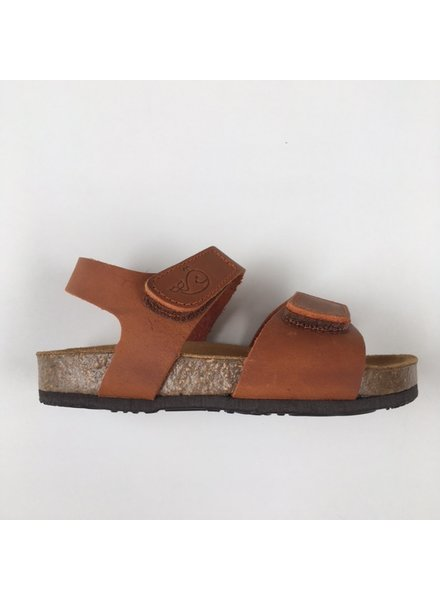 PLAKTON SANDALS leather cork sandal child PARTER - roughened leather mat - clay orange - 24 to 35