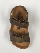PLAKTON SANDALS leather cork sandal child POL - roughened leather mat - nature green - 24 to 35