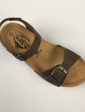 PLAKTON SANDALS leather cork sandal LOUIS teens & ladies - roughened leather mat - nature green - 35 to 40
