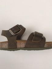 PLAKTON SANDALS leren kurk sandaal kind LOUIS - opgeruwd leer mat - natuur groen - 24 tm 34