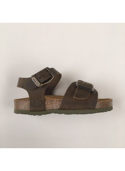 PLAKTON SANDALS leather cork sandal child LOUIS - roughened leather mat - nature green - 24 to 34