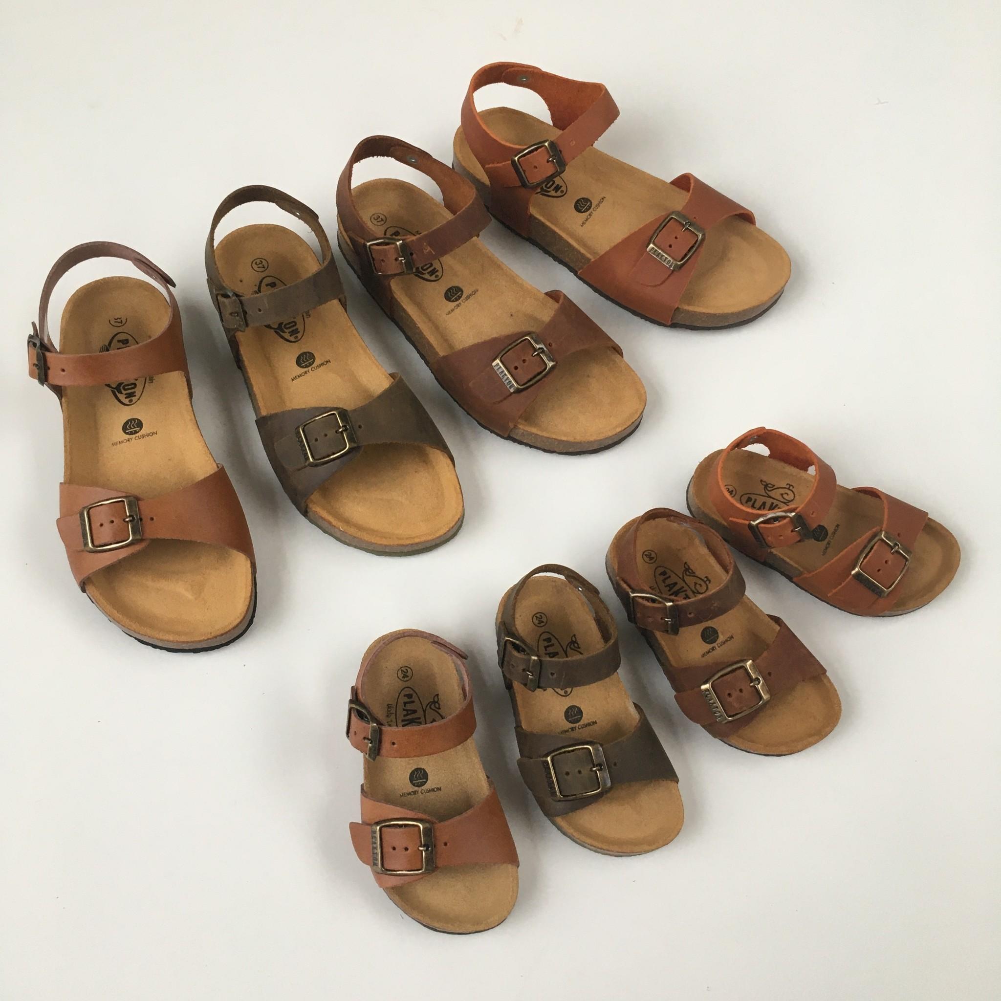 PLAKTON SANDALS leather cork sandal LOUIS teens & ladies - smooth leather cognac brown - 35 to 40