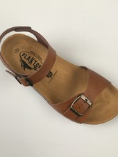 PLAKTON SANDALS leather cork sandal LOUIS teens & ladies - smooth leather cognac brown - 35 to 40