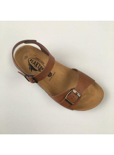 PLAKTON SANDALS leren kurk sandaal LOUIS teens & dames - gladleer cognac bruin - 35 tm 40