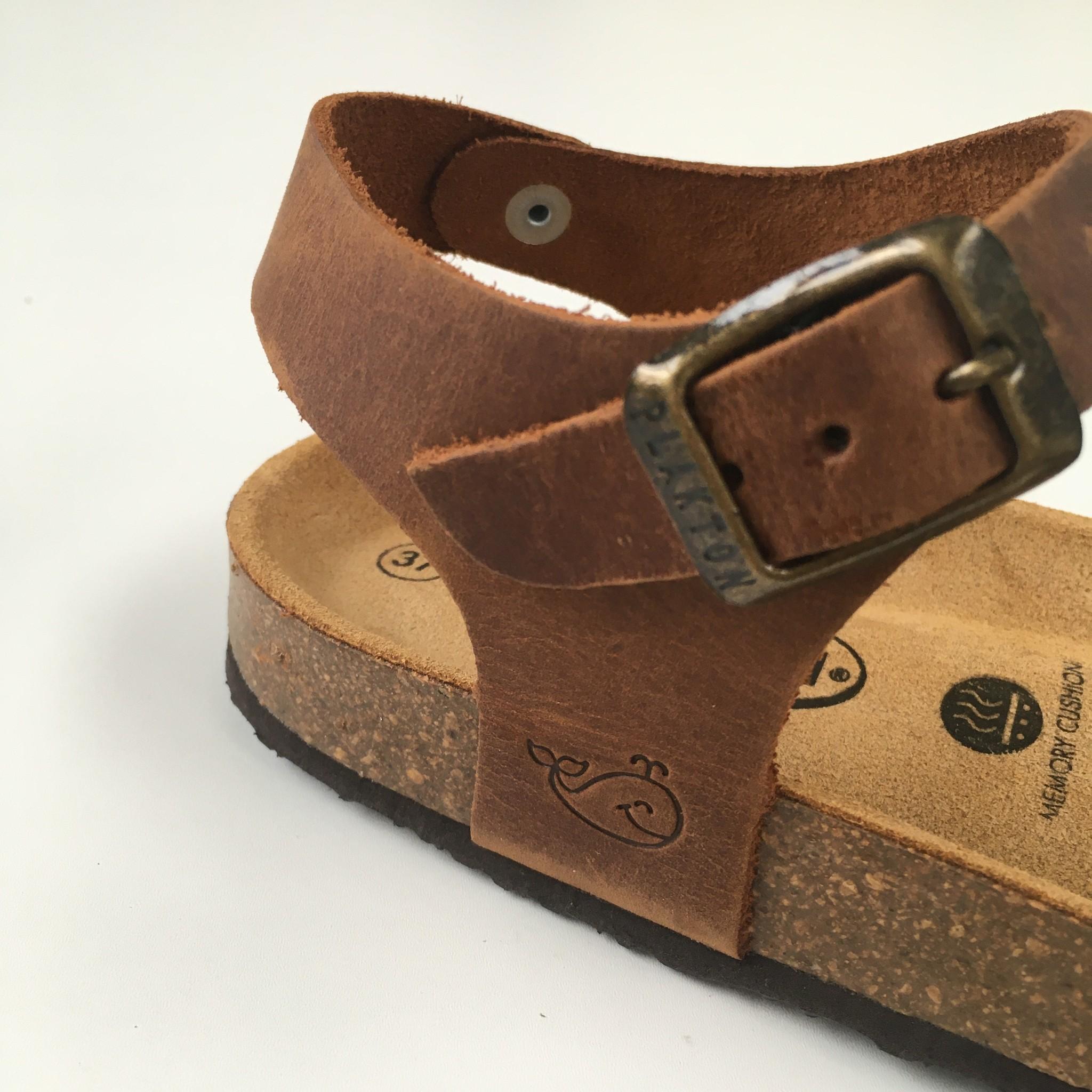PLAKTON SANDALS leren kurk sandaal LOUIS teens & dames - opgeruwd leer mat - natuur bruin - 35 tm 40