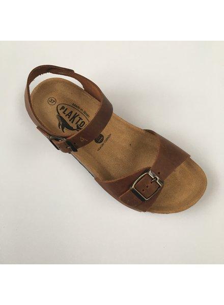 PLAKTON SANDALS leather cork sandal LOUIS teens & ladies - roughened leather mat - natural brown - 35 to 40