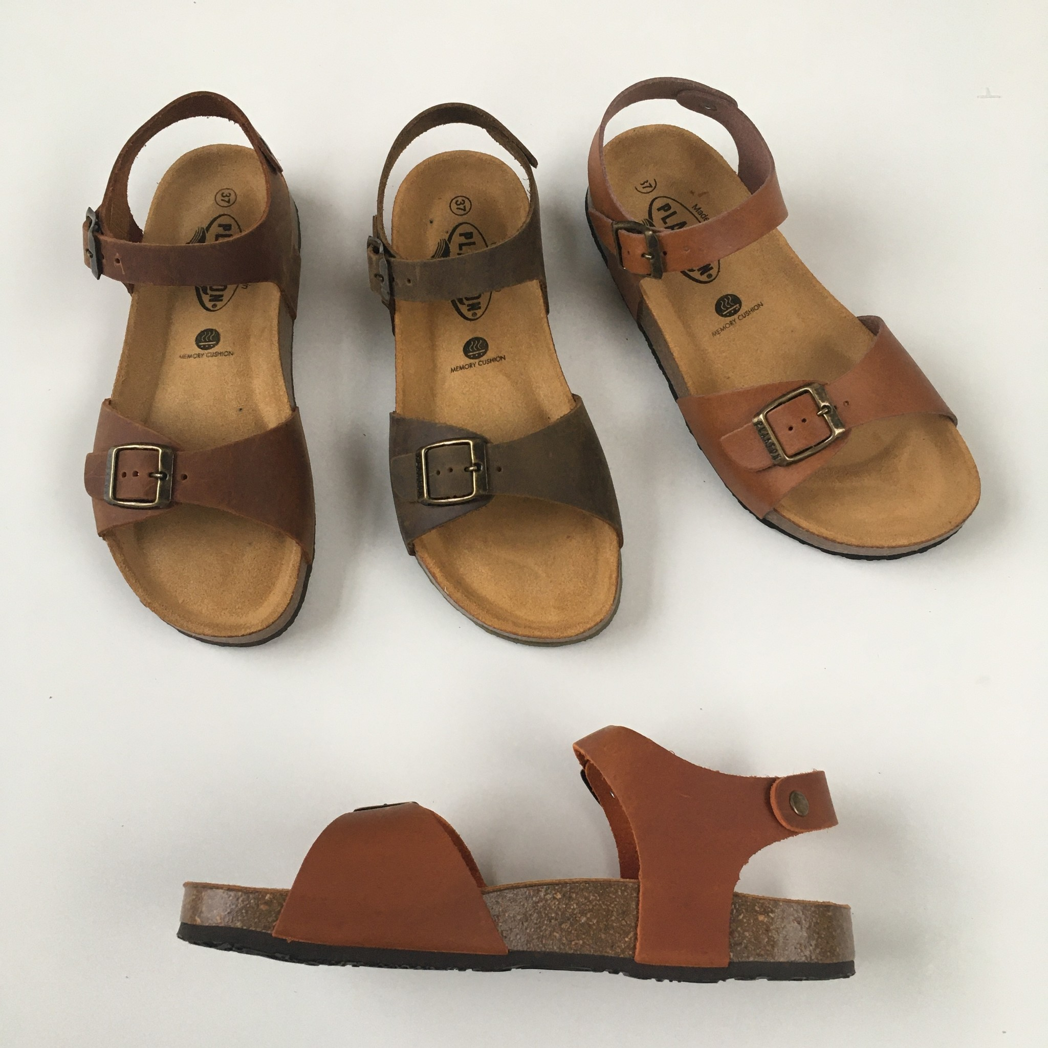PLAKTON SANDALS leather cork sandal LOUIS teens & ladies - roughened leather mat - clay orange - 35 to 40