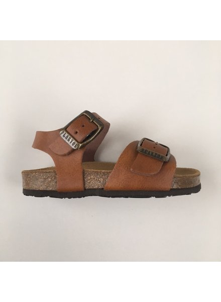 PLAKTON SANDALS leather cork sandal child LOUIS - smooth leather cognac brown - 24 to 34