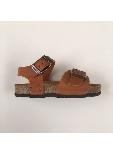 PLAKTON SANDALS leather cork sandal child LOUIS - roughened leather mat - clay orange - 24 to 34