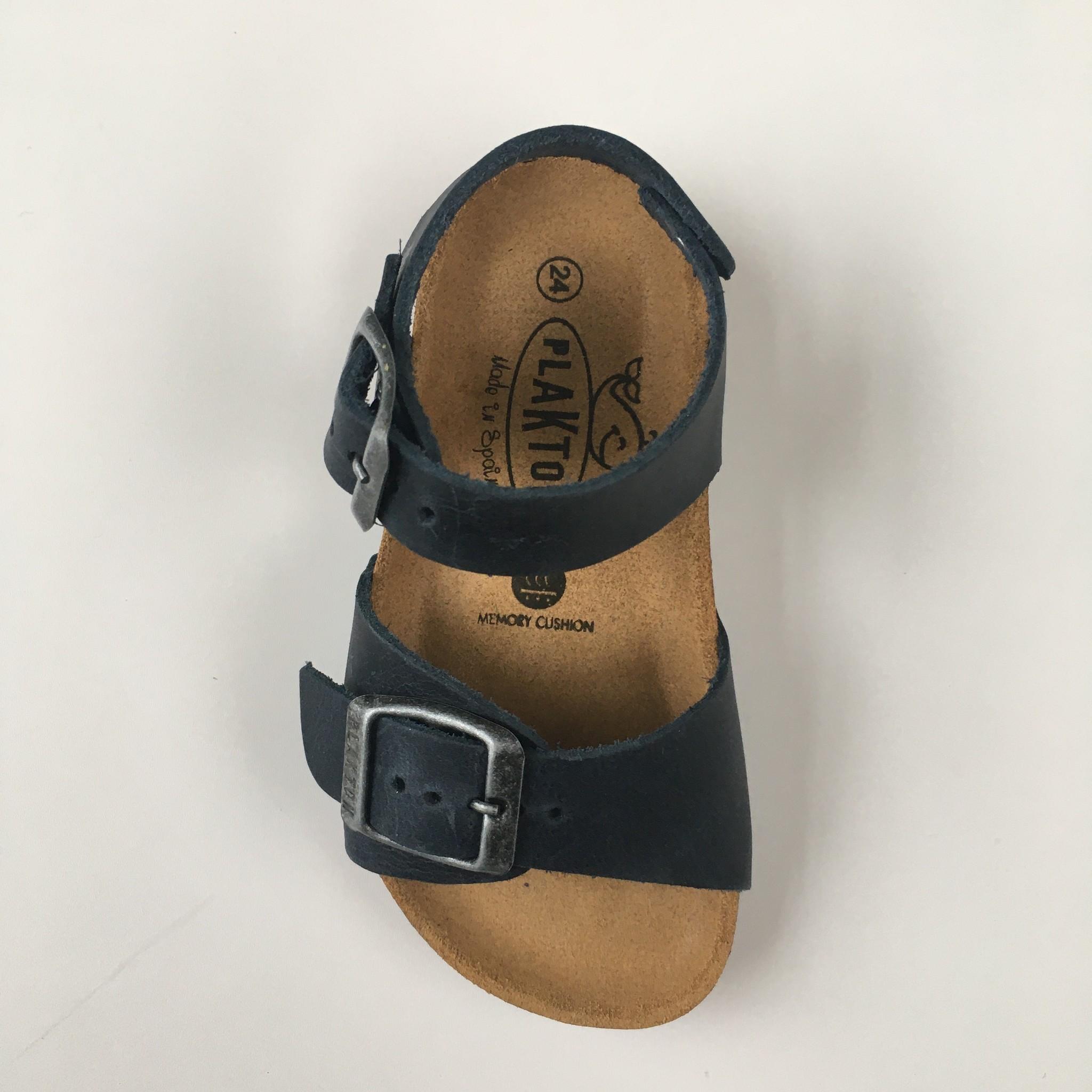 PLAKTON SANDALS leather cork sandal child LOUIS - roughened leather mat - dark blue - 24 to 35