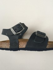 PLAKTON SANDALS leather cork sandal child LOUIS - roughened leather mat - dark blue - 24 to 35