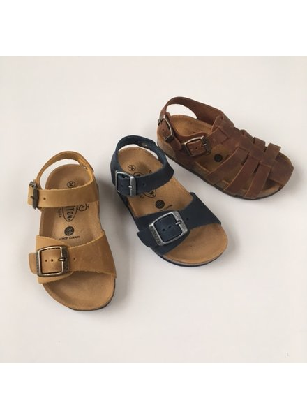 PLAKTON SANDALS leather cork sandal child LOUIS - roughened leather mat - mustard yellow - 24 to 35