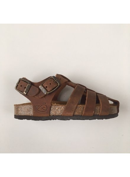 PLAKTON leather cork sandal child LOULOU - roughened leather mat - natural brown - 24 to 35