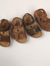 PLAKTON SANDALS leren kurk sandaal kind LOUIS - opgeruwd leer mat - natuur bruin - 24 tm 34