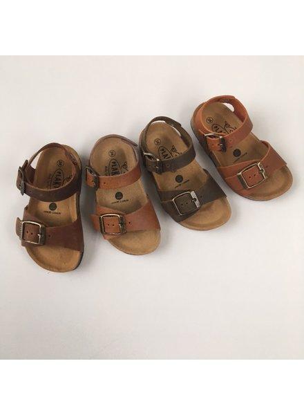 PLAKTON leren kurk sandaal kind LOUIS - opgeruwd leer mat - natuur bruin - 24 tm 34