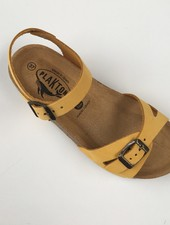 PLAKTON SANDALS leren kurk sandaal LISA teens & dames - nubuck leer - mosterd geel - 35 tm 40