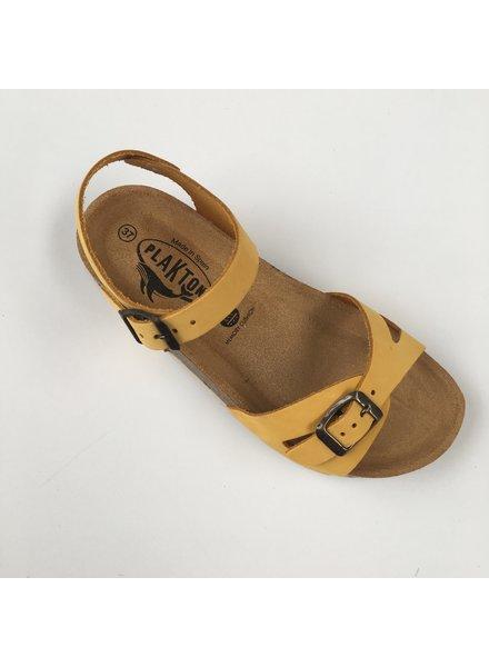 PLAKTON leren kurk sandaal LISA teens & dames - nubuck leer - mosterd geel - 35 tm 40