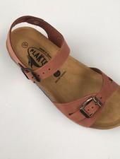 PLAKTON SANDALS leren kurk sandaal LISA teens & dames - nubuck leer - terracotta - 35 tm 40