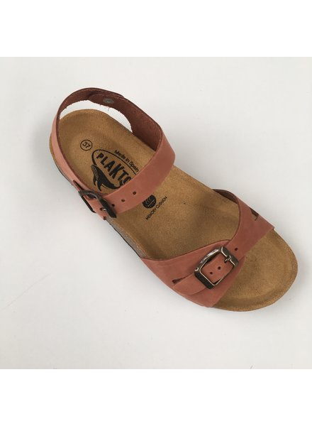 PLAKTON leren kurk sandaal LISA teens & dames - nubuck leer - terracotta - 35 tm 40