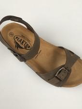 PLAKTON SANDALS leather cork sandal LISA teens & ladies - nubuck leather - khaki green - 35 to 40