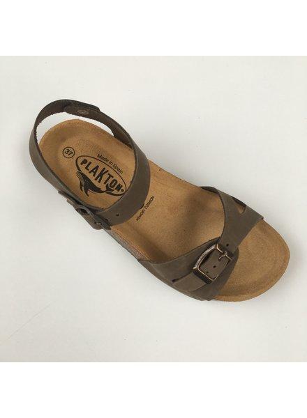 PLAKTON SANDALS leren kurk sandaal LISA teens & dames - nubuck leer - khaki groen - 35 tm 40