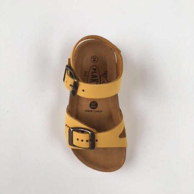 PLAKTON SANDALS leather cork sandal child LISA - nubuck leather - mustard yellow - 24 to 34