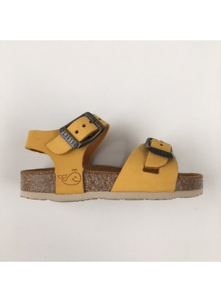 PLAKTON SANDALS leren kurk sandaal kind LISA - nubuck leer - mosterd geel - 24 tm 34