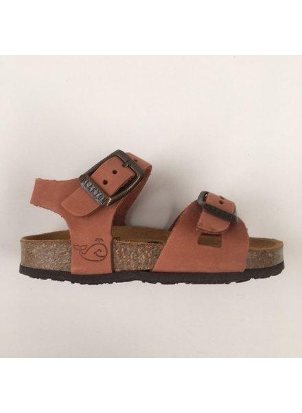 PLAKTON SANDALS leren kurk sandaal kind LISA - nubuck leer - terracotta - 24 tm 34