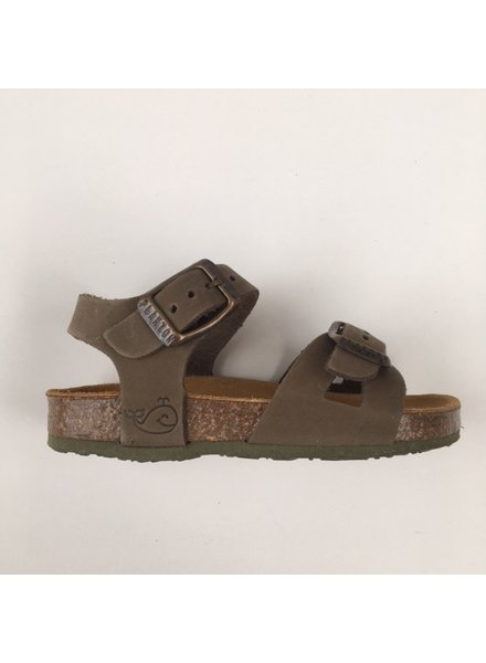 PLAKTON SANDALS leather cork sandal child LISA - nubuck leather - khaki green - 24 to 34