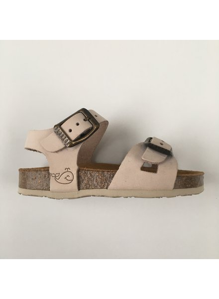 PLAKTON SANDALS leather cork sandal child LISA - nubuck leather - light pink - 24 to 35