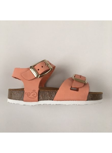 PLAKTON SANDALS leather cork sandal child LISA - nubuck leather - coral - 24 to 35