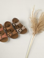 PLAKTON SANDALS leather cork sandal child LISA - nubuck leather - dune tan beige - 24 to 35