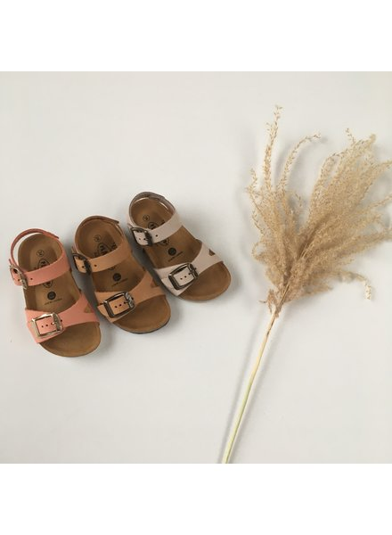 PLAKTON SANDALS leather cork sandal child LISA - nubuck leather - dune tan beige - 24 to 35