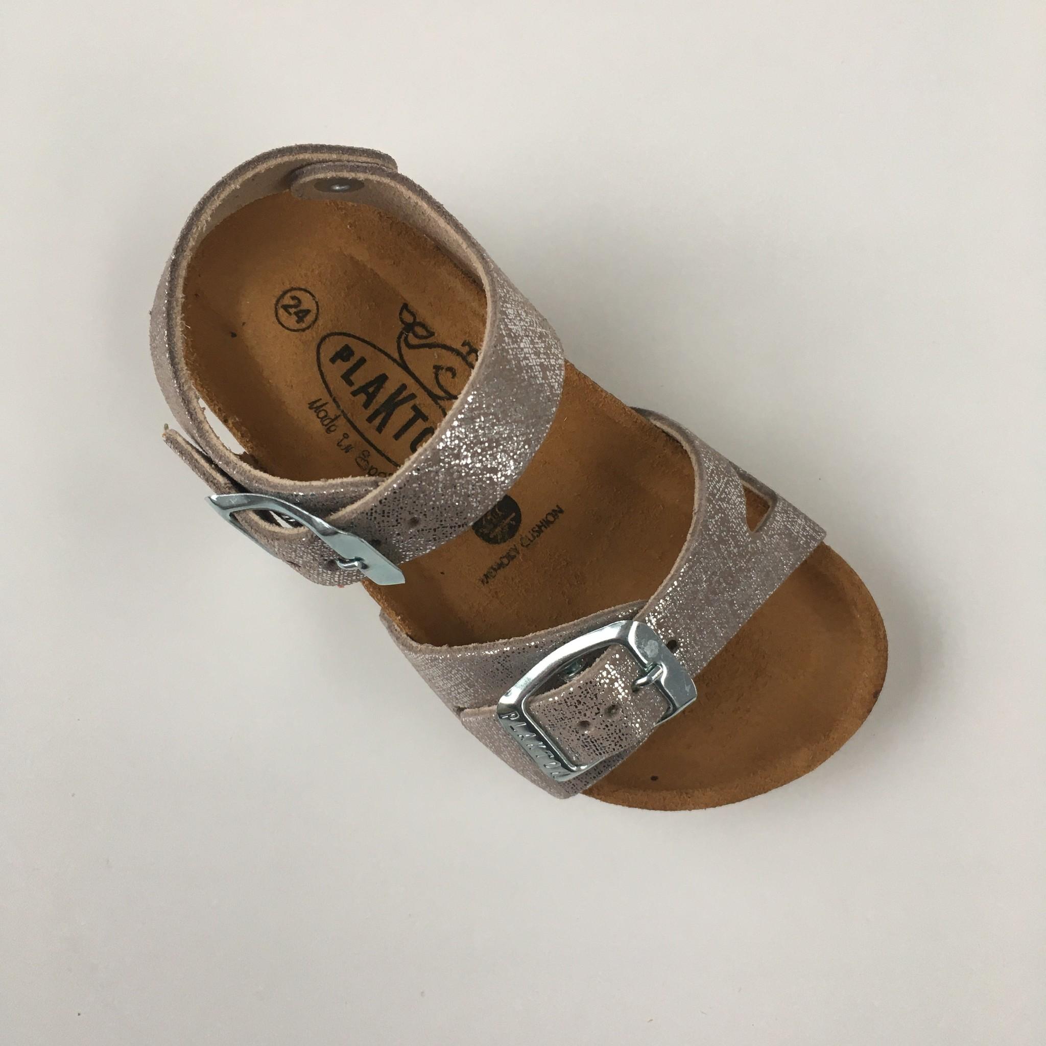 PLAKTON SANDALS leather cork sandal child LISA - silver color - 24 to 35