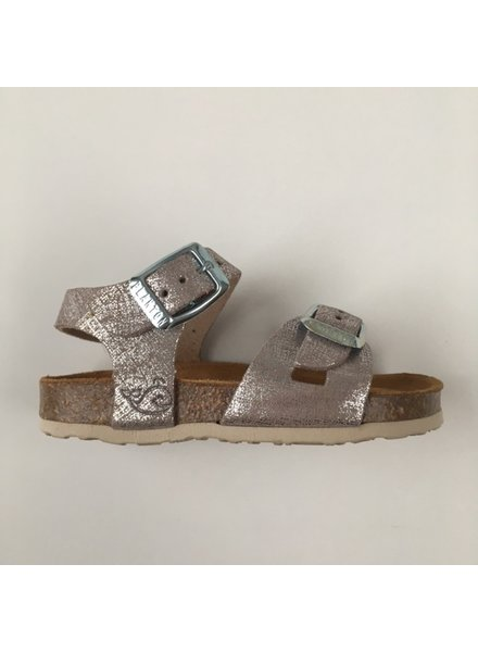PLAKTON SANDALS leather cork sandal child LISA - silver color - 24 to 35