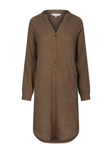 GAI + LISVA dames overhemd jurk FRYD - 100% katoen - bruin - 36 tm 42