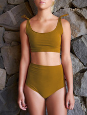 Isole e Vulcani  seamless retro bikini women DUE PEZZI - organic jersey cotton with stretch - tapenade - S to L