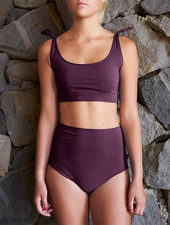 Isole e Vulcani  seamless ladies bikini retro DUE PEZZI - organic jersey cotton with stretch - deep purple - S to L