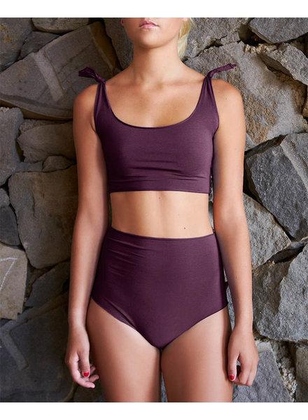 Isole e Vulcani  seamless ladies bikini retro DUE PEZZI - organic jersey cotton with stretch - deep purple - S to L