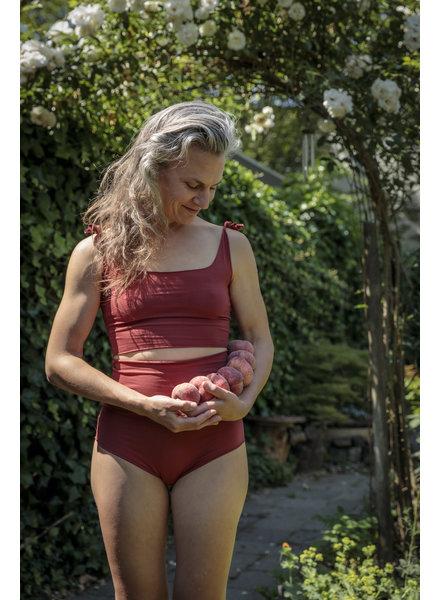 Isole e Vulcani  naadloze dames bikini retro DUE PEZZI -  bio jersey katoen met stretch - marsala rood - S tm L