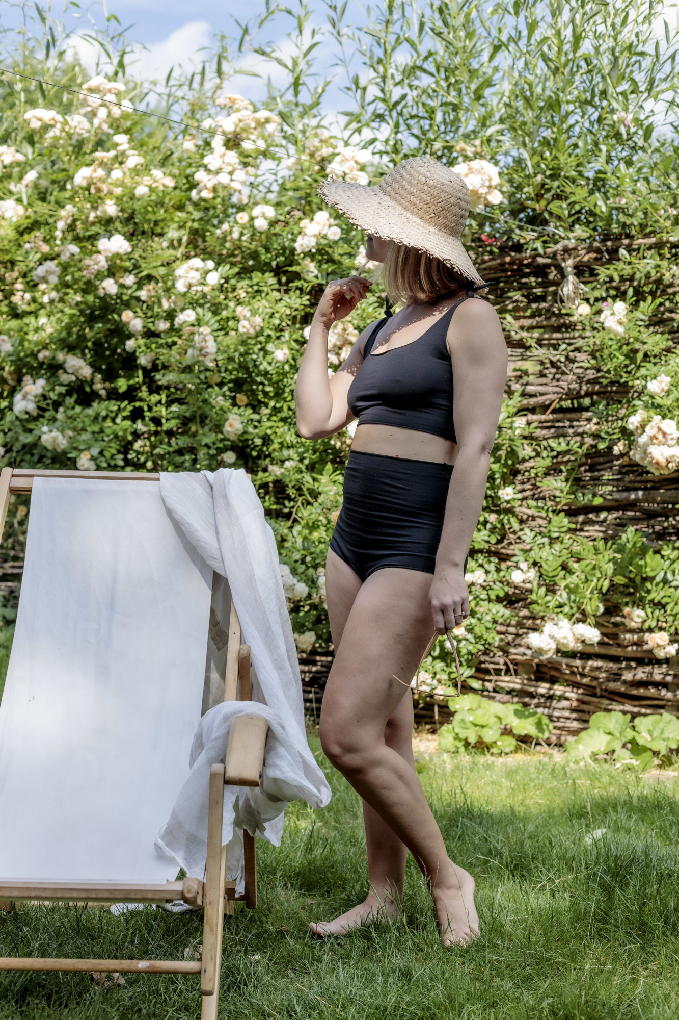 Isole e Vulcani  naadloze dames bikini retro DUE PEZZI -  bio jersey katoen met stretch - zwart - S tm L