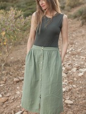 Marlot Paris women maxi skirt MINETTE - 100% cotton - green eucalyptus - S to L