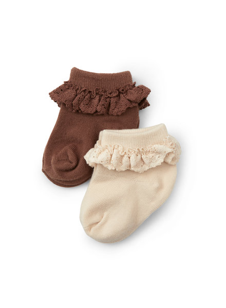 Konges Slojd 2 pairs of frill socks  - 75% organic cotton - nude /red brown  - size 22 to 35