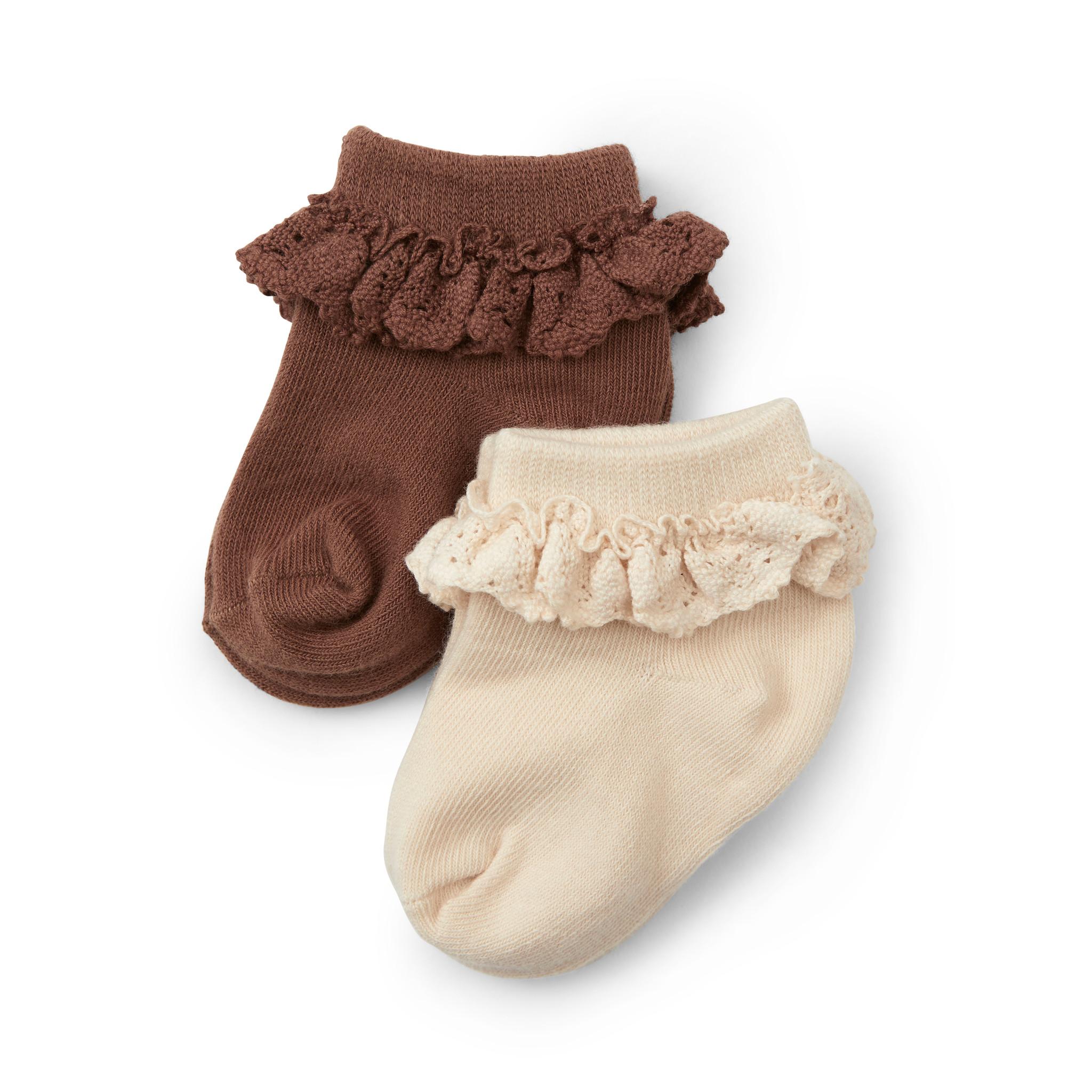 Konges Slojd set van 2 paar sokken met ruches - 75% biologisch katoen -  nude / rood bruin - maat 22 tm 35