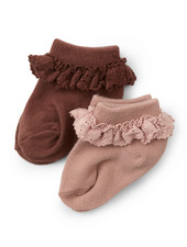 Konges Slojd 2 pairs of frill socks  - 75% organic cotton - mocca/rose  - size 22 to 35