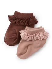 Konges Slojd set van 2 paar sokken met ruches - 75% biologisch katoen - mokka/roze - maat 22 tm 35